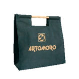 calico shopping bag wooden handles