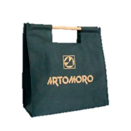 calico shopping bag wooden handles