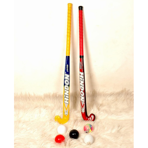 hockey sticks and balls