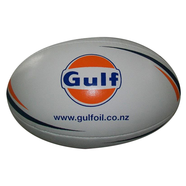 printed logo on rugby ball