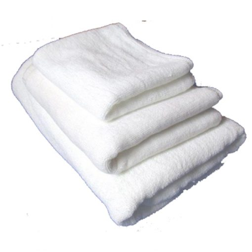 white bath towels branded