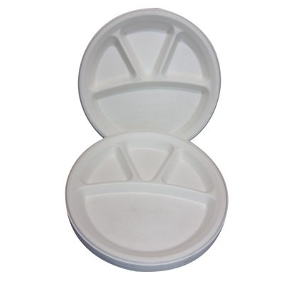 plates 4 compartments recycled biodegradable